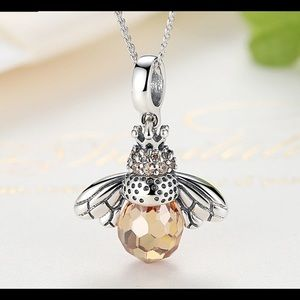Bee charm necklace. Sterling silver. CZ crystal